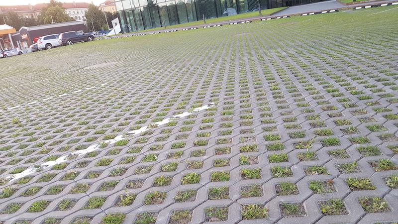 Интересное бетонное покрытие для стоянок, не мешающее травке расти